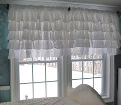 White Ruffled Curtains by White Ruffle Curtain With Lace Trim 75 00 Via Etsy Decor