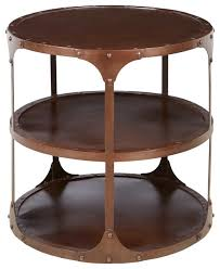 round industrial side table metal side tables alfons industrial loft round 3 tier metal side