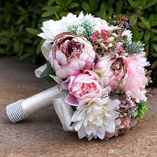 bouquet for wedding 2017 gorgeous pink real touch flowers peony bouquets for wedding