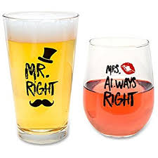 novelty wine glasses gifts wedding gifts mr right and mrs always right