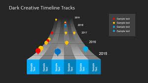 dark timeline tracks powerpoint template slidemodel