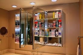 tri fold mirror bathroom cabinet tri fold mirror bathroom cabinet h recessed or surface mount view