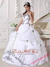 black and white quinceanera dresses white quinceanera dress sweetheart satin and taffeta embroidery