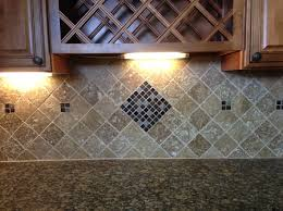 Tumble Travertine X Noce And Glass Mosaic Backsplash Wall Design - Noce travertine tile backsplash