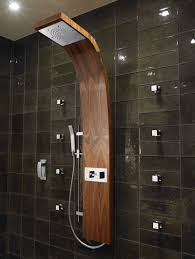 terrific wooden head rain shower panels with black wall tiles