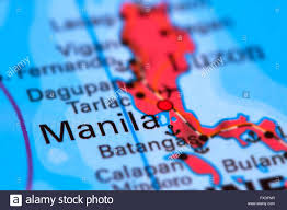 world map of capital cities manila capital city of the philippines on the world map stock