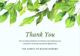 thank you card for bereavement thank you card wording exles funeral thanks