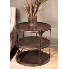 round metal side table alfons industrial loft round 3 tier metal side table kathy kuo home