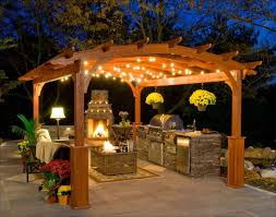 Garden Patio Lights Gazebo Lighting Ideas Traditional Garden Patio With Grill Gazebo