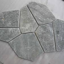 meshed slate paving tiles edge in saw tumbled chiseled