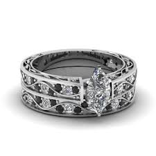 black diamond wedding set marquise cut antique filigree wedding set with black diamond in