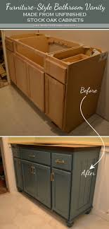 how to redo bathroom cabinets for cheap teal furniture style vanity made from stock cabinets finished