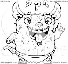 gremlins coloring pages cartoon clipart of an outlined confused pudgy green gremlin