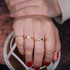 midi rings set idealway gold color geometric midi rings for women knuckle rings
