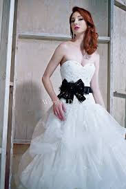 black sash black sash bowtie tulle fashion wedding dress