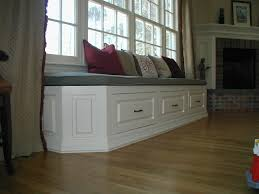 Brick Look Laminate Flooring White Wooden Windows Seat With White Wooden Drawers And Grey Seat