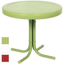 best choice products patio outdoor metal round side table green