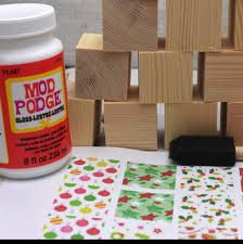 christmas wooden block craft party set by fancy that