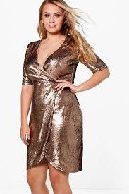 sequin dresses plus grace wrap 3 4 sleeve sequin dress boohoo