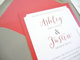 a classic red and romantic grey wedding invitations and lettering