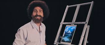 a picture of chad cameron as bob ross