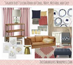 sugared hues navy coral mustard grey living room throughout coral