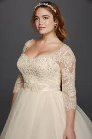 oleg cassini plus size three quarter lace sleeves and a flattering