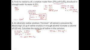 Stoichiometry Problems Worksheet Practice Problems With Solutions Concentration And Molarity Youtube