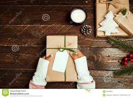 craft and handmade present gift boxes of christmas on wood table
