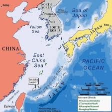 china on a map east china sea