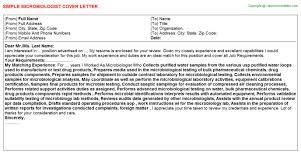 Cover Letter For Testing Resume Microbiologist Cover Letter