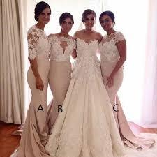 light bridesmaid dresses mermaid half sleeves light chagne bridesmaid dress with