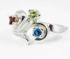 silver mothers ring blue topaz peridot garnet s ring sterling silver s