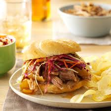 sweet u0026 spicy pulled pork sandwiches recipe taste of home