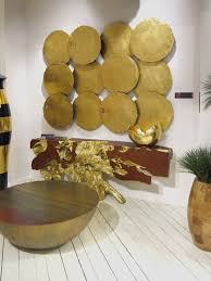 Gold Wall Decor by Galvanized Circle Wall Tiles Set Of 4 Gold Leaf Ph60516