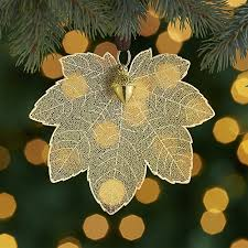 gold maple leaf ornament with acorn crate and barrel