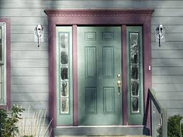 painted front door with sidelights