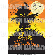 clip art of a scarecrow over happy halloween text on orange with a