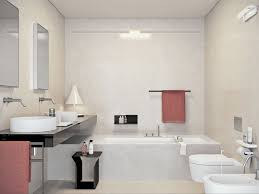 cozy small modern bathroom with double round vessel sink and long white