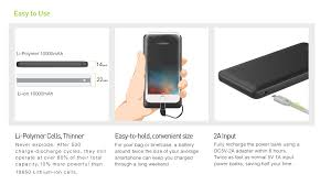 veger slim cable portable battery charger and quick charge li polymer