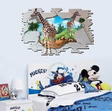 Decorative Window Decals For Home Bedroom 3d Giraffe False Wall Window Decals For Kids Baby Room