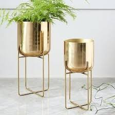 home decor products inc home decor product spun metal standing planter brass medium linon
