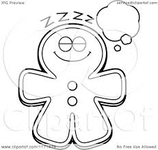 gingerbread coloring page cartoon clipart of a dreaming gingerbread man mascot vector