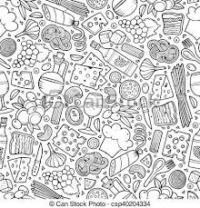 seamless pattern food cartoon cute hand drawn italian food seamless pattern line