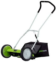 amazon com greenworks 25052 16 inch reel lawn mower with grass