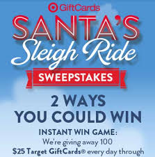 instant win gift cards target santa s sleigh ride sweepstakes win gift cards sweeps maniac