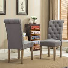 habit solid wood tufted parsons dining chair set of 2 grey