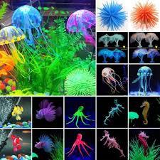 fluorescent aquarium artificial jellyfish ornament fish tank