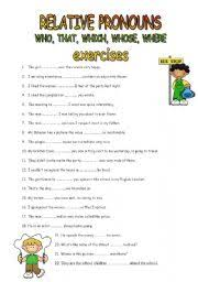 english worksheets relative pronouns 1
