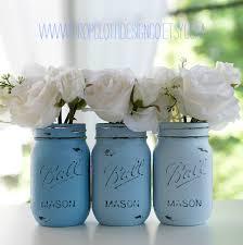 painted distressed mason jars blue baby blue beachy blue